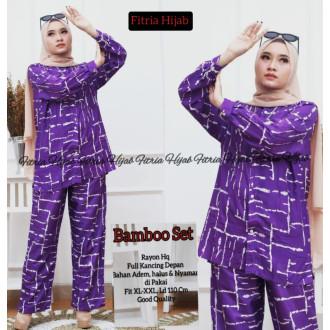 Pakaian wanita Bamboo set - baju tidur ungu