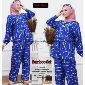Pakaian wanita Bamboo set - baju tidur biru