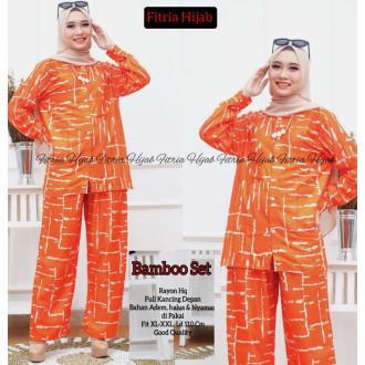 Pakaian wanita Bamboo set - baju tidur orange